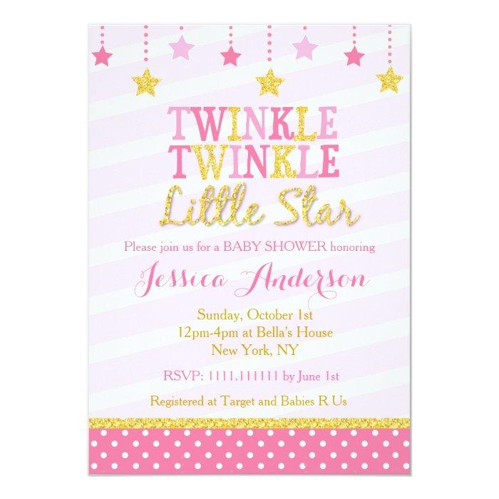 Twinkle Twinkle Little Star Baby Shower Invites ~ Twinkle little star baby shower invitations zazzle