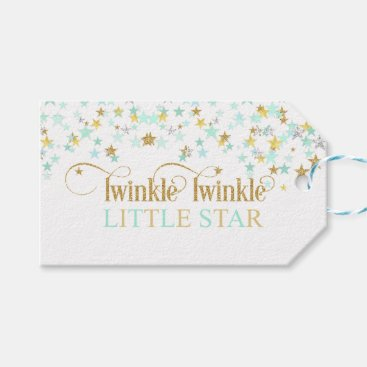 Toddler & Baby themed Twinkle Little Star Baby Shower Mint Green Gift Tags