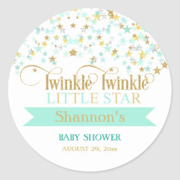 Twinkle Little Star Baby Shower Mint Green & Gold Classic Round Sticker