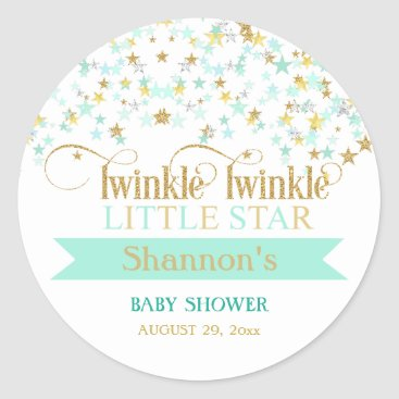 Toddler & Baby themed Twinkle Little Star Baby Shower Mint Green & Gold Classic Round Sticker