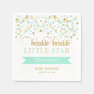 Twinkle Little Star Baby Shower Mint Green Gold Napkin