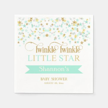 Toddler & Baby themed Twinkle Little Star Baby Shower Mint Green Gold Napkin