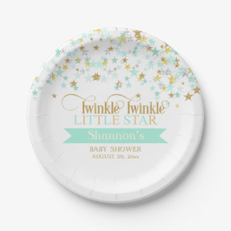 Twinkle Little Star Baby Shower Mint Green Paper Plate