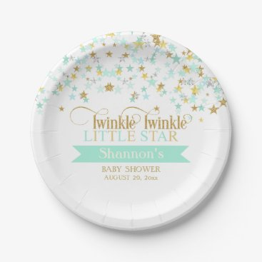 Toddler & Baby themed Twinkle Little Star Baby Shower Mint Green Paper Plate