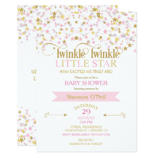 Twinkle Little Star Baby Shower Pink Gold Card
