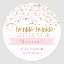 Twinkle Little Star Baby Shower Pink Gold Classic Round Sticker