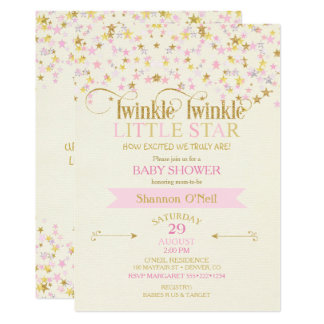 Twinkle Little Star Baby Shower Pink Gold Creme Card