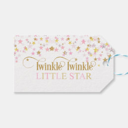 Twinkle Little Star Baby Shower Pink Gold Gift Tags