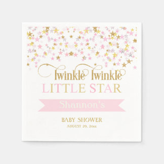 Twinkle Little Star Baby Shower Pink Gold Napkin