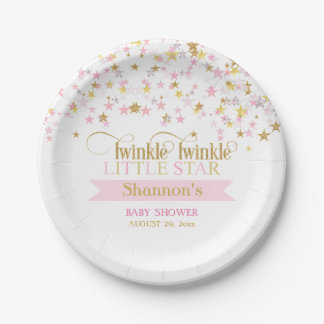 Twinkle Little Star Baby Shower Pink Gold Paper Plate