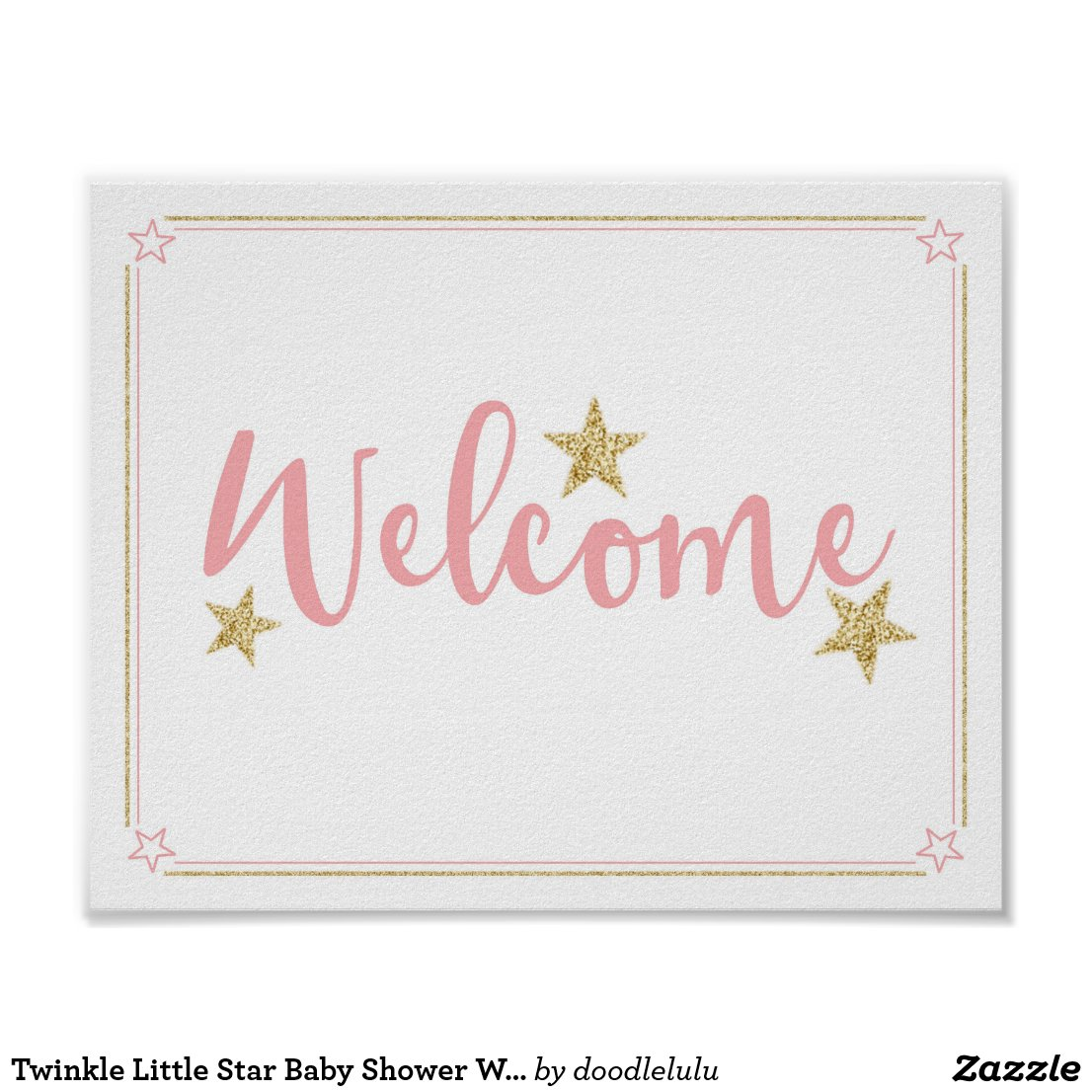 Twinkle Little Star Baby Shower Welcome Pink Gold Poster