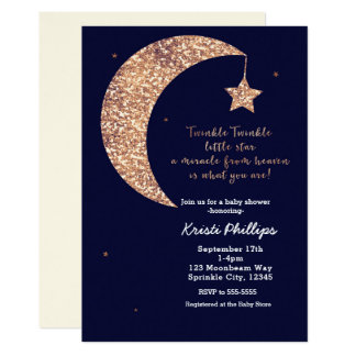 Twinkle Little Star Blue Bronze Moon Baby Shower Card