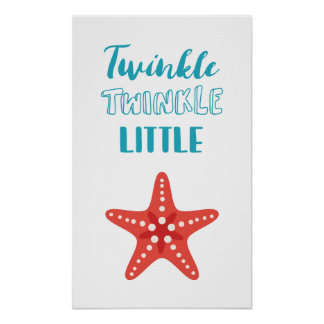 Twinkle Little Star Blue & Coral Nautical Nursery Poster