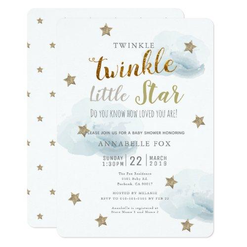 Twinkle Little Star  Cloud Baby Shower Invitation