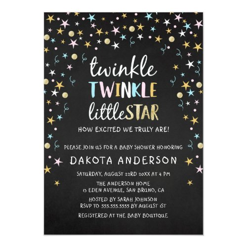 Twinkle Little Star Confetti & Chalk Baby Shower Invitation