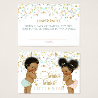 Twinkle Little Star Diaper Raffle African American Business Card