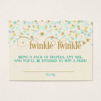 Twinkle Little Star Diaper Raffle Mint Gold Creme Business Card