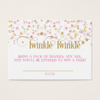 Twinkle Little Star Diaper Raffle Pink Gold Creme Business Card