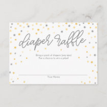 Twinkle Little Star Diaper Raffle Ticket Gray Enclosure Card