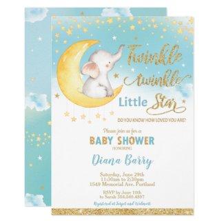 Twinkle Little Star Elephant Baby Shower Boy Invitation