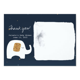 Twinkle Little Star Elephant Baby Shower Thank You 4.5x6.25 Paper Invitation Card