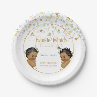 Twinkle Little Star Ethnic Baby Gender Neutral Paper Plate