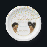 "Twinkle Little Star Ethnic Baby Gender Neutral Paper Plate<br><div class=""desc"">Twinkle twinkle little star baby shower plate with vintage baby boy &amp; girl done in gender neutral pink,  aqua &amp; gold. You can make the plate any color.</div>"