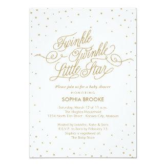 Twinkle Little Star Fancy Gold & White Baby Shower Card