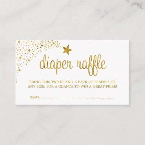 Twinkle Little Star Faux Gold Diaper Raffle Ticket Enclosure Card