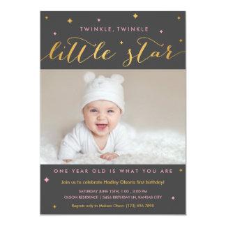 Twinkle Little Star First Birthday Invitation Girl