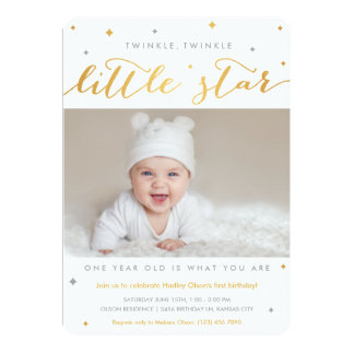 Twinkle Little Star First Birthday Invitations
