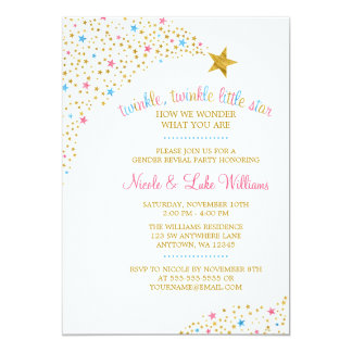 twinkle little star gender reveal baby shower card - Gender Reveal Baby Shower