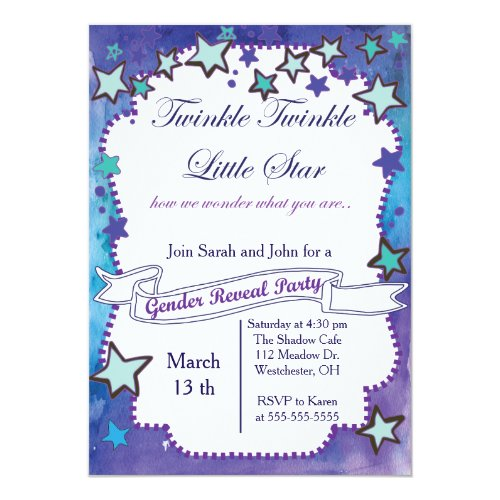 Twinkle Little Star Gender Reveal Invitation