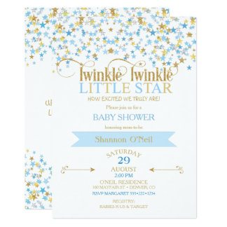 Twinkle Little Star Gold & Baby Blue Card