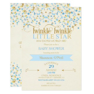 Twinkle Little Star Gold & Baby Blue Gold Card