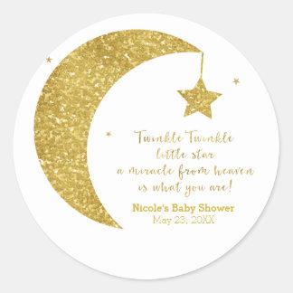 Twinkle little Star Gold Glitter Moon Stars Favor Classic Round Sticker