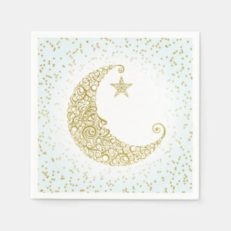 Twinkle Little Star Gold Moon Blue Napkin