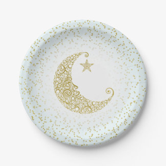 Twinkle Little Star Gold Moon Blue Paper Plate