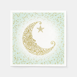 Twinkle Little Star Gold Moon Mint Napkin