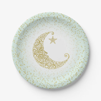 Twinkle Little Star Gold Moon Mint Paper Plate