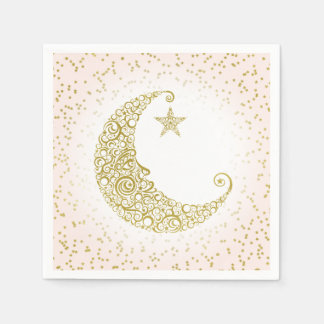 Twinkle Little Star Gold Moon Pink Napkin