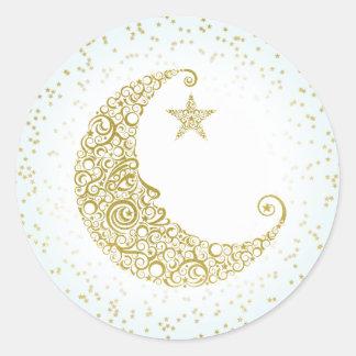 Twinkle Little Star Gold Moon Sticker Blue