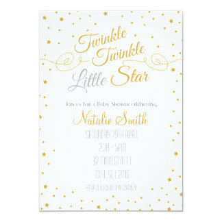 Twinkle Little Star Invitation Baby Shower Gold