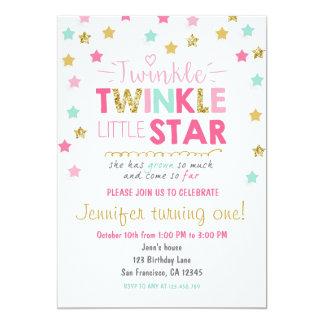 Twinkle Little Star Mint pink birthday invitation