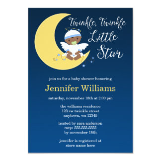 Twinkle Little Star Moon Ethnic Baby Shower Card