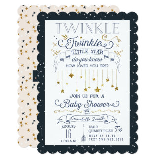 Twinkle Little Star Navy Baby Shower Invitations