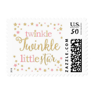 Twinkle Little Star Pink and Gold Postage Stamp
