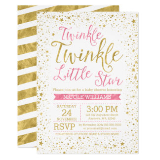 Twinkle Little Star Pink Baby Shower Invitations