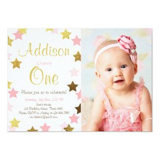Twinkle Little Star pink gold birthday invitation
