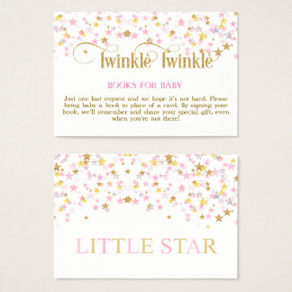 Twinkle Little Star Pink Gold Book Request Card